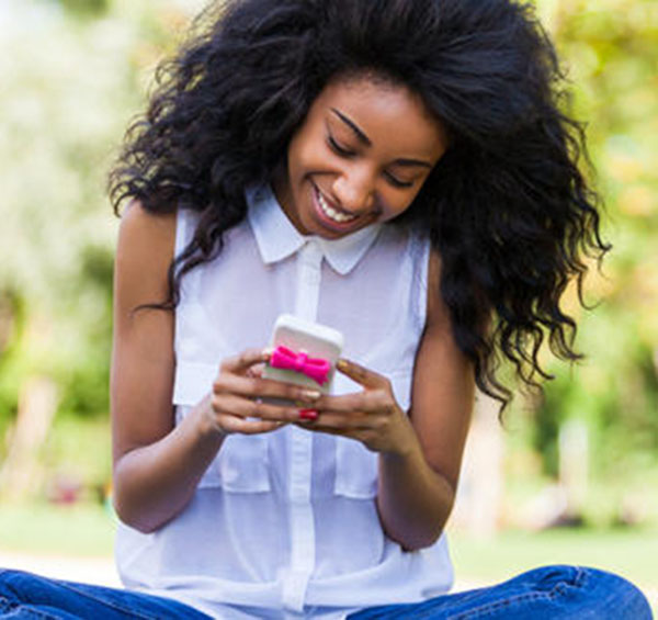 Opinion. Black girl on phone for the